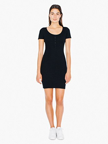 American-Apparel-Womens-2x1-Short-Sleeve-Henley-Rib-Dress