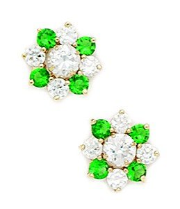 14ct Yellow Gold Green CZ Big Flower Fancy Post Earrings - Measures 10x10mm