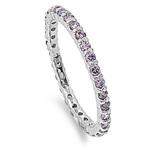2mm Sterling Silver WHITE GOLD TONE Stackable Handset AMETHYST GEM CZ Eternity Ring 4-10 (8)