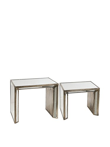 Evergreen Waverly Set of 2 Mirrored Nested Side Tables, Tan