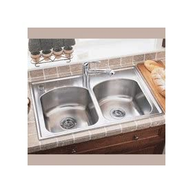 American Standard 7502.103.075 Culinaire 33-Inch self-rimming Single Hole Double Bowl Kitchen Sink, Stainless Steel