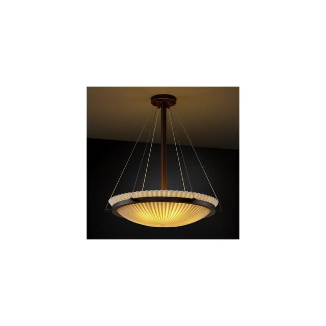 PNA 9697 35 PLET DBRZ LED 6000   Justice Design   Porcelina   Eight Light Round Bowl Pendant with Ring Pleats Shade Impression Dark Bronze Finish   Porcelina   Ceiling Pendant Fixtures