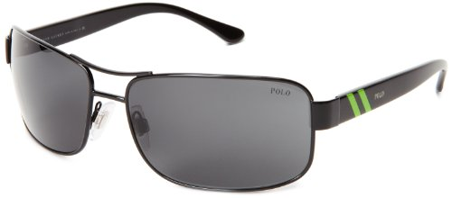 Polo Ralph Lauren 0PH3070 90038764 Rectangular Sunglasses,Shiny Black,64 mm