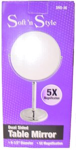 "Soft 'N Style Dual-Sided Table Makeup Mirror 6.5"" Dia., Regular & 5X Magnifying front-61921"