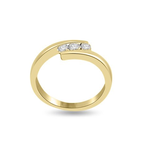 0.60 carat 3 Diamond Trilogy Promise Ring for Women. H/SI1 Round Brilliant Diamond in 18ct Yellow Gold