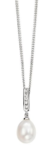 Elements Sterling Silver Ladies' P3246W Pearl Drop & Cubic Zirconia Pendant, Chain Length 41cm
