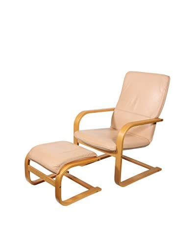 Bruno Mathsson-Style Chair with Ottoman, Brown