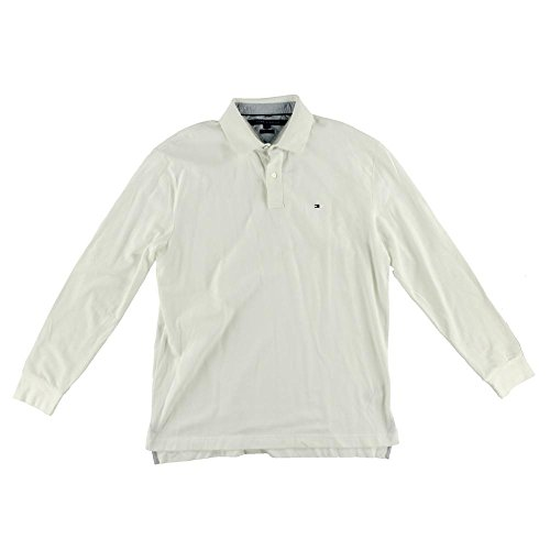 Tommy Hilfiger Classic Fit Long Sleeve Polo Shirt X-Large Snow White Cotton