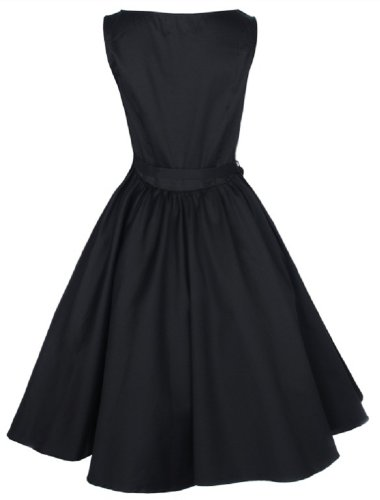 Lindy Bop Vintage 50S Audrey Hepburn Style Swing Party Rockabilly Evening Dress Black XXX-Large