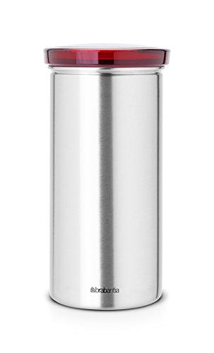 Brabantia-476181-Bote-pour-dosettes--caf-Senseo-Impression-Senseo-matt-steel-avec-Fingerprint-Proof-Couvercle-rouge