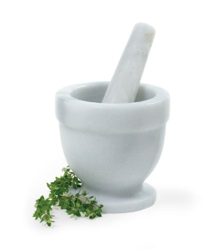 Norpro 3/4-Cup Marble Mortar/Pestle, White