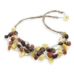 Multicolor Baltic Amber Cord 8-strand Necklace Cognac, Cherry, Butterscotch and Lemon