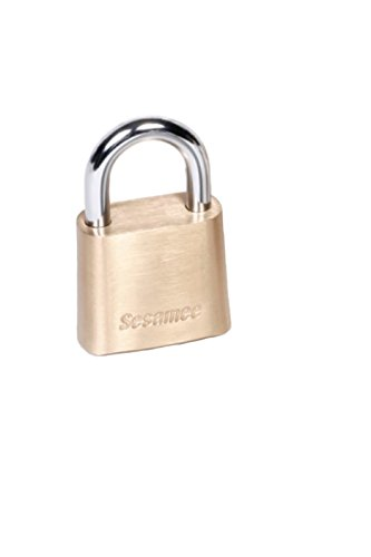 Sesamee K437 4 Dial Bottom Resettable Combination Brass Padlock with 2-1/4-Inch Hardened Steel Shackle and 10,000 Potential Combinations