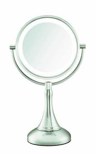 Conair Fluorescent Lighted Mirror, Satin Nickel Finish, 1x/8x Magnification (Conair Natural Daylight Mirror compare prices)