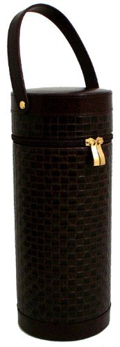 Bey Berk Leather Wine Caddy With Bar Tool Brown
