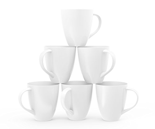 Francois et Mimi Large Ceramic Coffee Mugs, 16-Ounce, White, Set of 6 (White Coffee Mug Set compare prices)