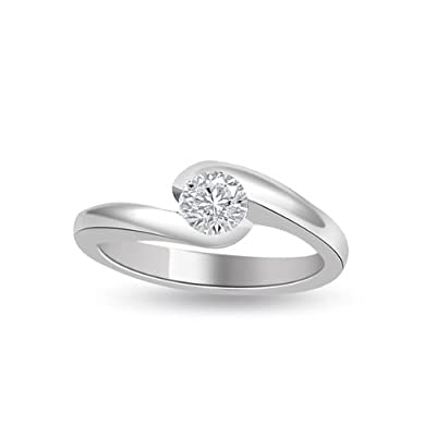 0.25 carat Diamond Engagement Ring for Women. G/SI1 Solitaire Round Brilliant Diamond in 18ct White Gold