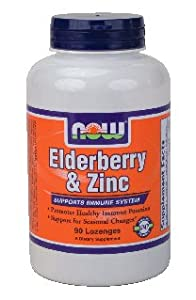 Now Foods Elderberry & Zinc, 90 lozenges ( Multi-Pack)