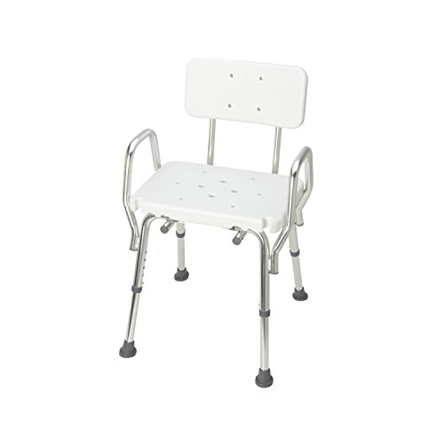 DMI Heavy Duty Bath and Shower Chair with Arms, Adjustable Legs, Removable Backrest and No-Tool Assembly, White