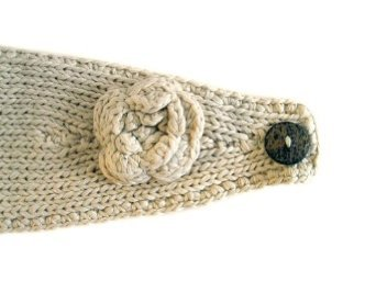 Womens Headwrap Flower Headband w/Button, Ivory