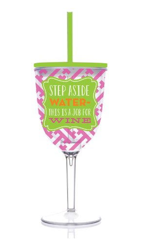 Insulated Wine Glass With Straw front-455639