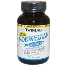 Twinlab Norwegian Cod Liver Oil Softgel - 100 Per Pack -- 6 Packs Per Case.