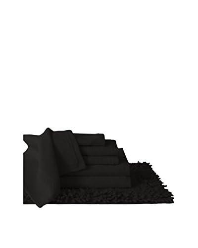 Luxury Home 7-Piece Super Plush Egyptian Cotton Bath Set, Black