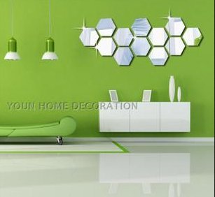 Colorfulhall Acrylic Mirror 3D Wall Decals Hexagon Diy Mirror Wall Stickers front-634576