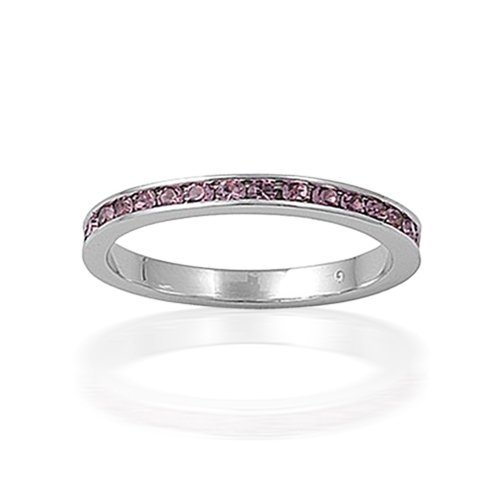 Bling Jewelry Sterling Silver Alexandrite Color CZ June Birthstone Eternity Ring