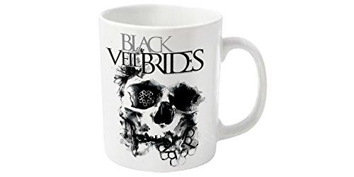 Testa in plastica, motivo: Black Veil Brides Skullogram-Tazza, colore: bianco