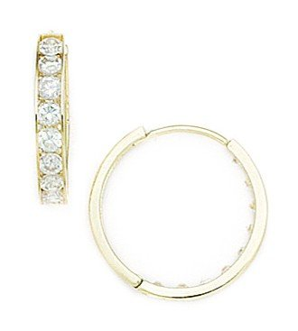 14ct Yellow Gold CZ Medium Round Hinged Earrings - Measures 17x17mm