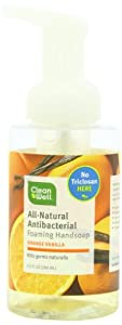Cleanwell All Natural Anti Bacterial Foaming Hand Soap, Orange Vanilla, 9.5-Ounce Bottle (Pack of 4)