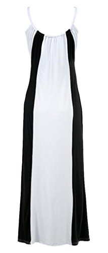 Women Lady Sleeveless Block Slim Straps Summer Beach Casual Long Maxi Dress