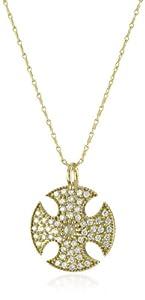 Mizuki 14k Gold and Diamond Cutout Shield Medallion Chain Necklace