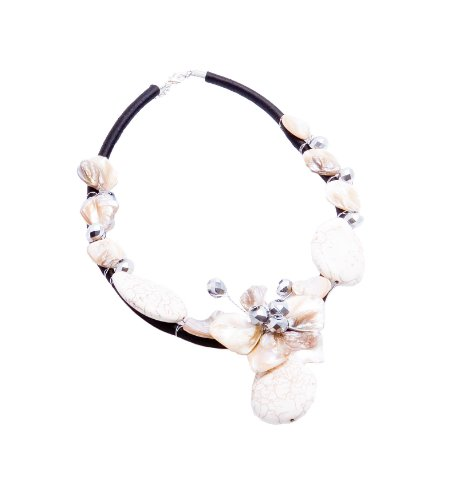 Mother of pearl freeform and white turqouise crystal necklace in silk cord