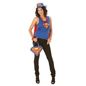 HERE COME THE GIRLS SUPERGIRL SUPER HERO FANCY DRESS COSTUME (Women: 12-14)