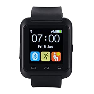 EasySMX Bluetooth 4.0 Multi-idiomas Reloj Inteligente Smartwatch podómetro/ Monitor de sueño/ Alarma/ Calendario con la Pantalla Táctil Compatible con Android Smartphones como Samsung, HTC, Sony, Huawei (Negro)