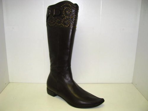 Women's Italian Leather Boot- Brown By 100% Donna, Made in Italy (100% Donna (Mitica),Shoes)