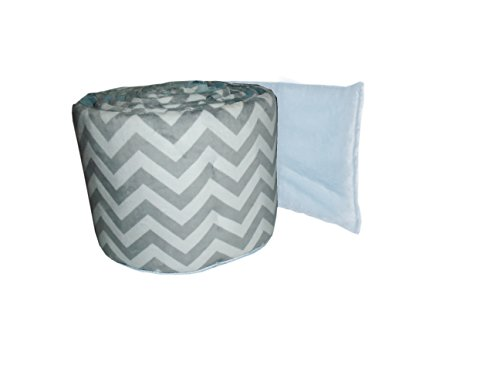 Baby Doll Minky Chevron Crib Bumper, Blue