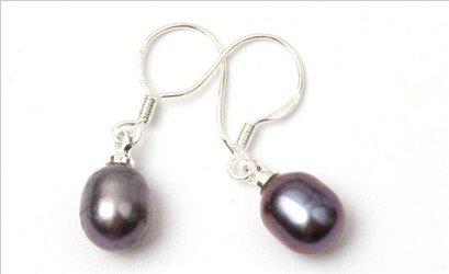 7-8mm x 9-10mm drop black purple pink white freshwater pearl earrings dangle sterling silver hook