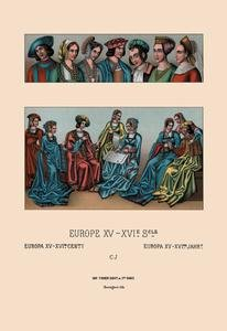 "Paper poster printed on 12"" x 18"" stock. Assorted Costumes of the Early Renaissance"