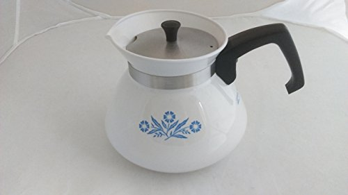Vintage Corning Ware Blue Cornflower 6-cup Tea Pot W Metal Lid