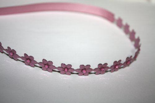 Flower Wrap Headband With Swarovski Rhinestones, Baby Girls, Photography, Toddlers, Flower Girls, Shiny Pink front-824496