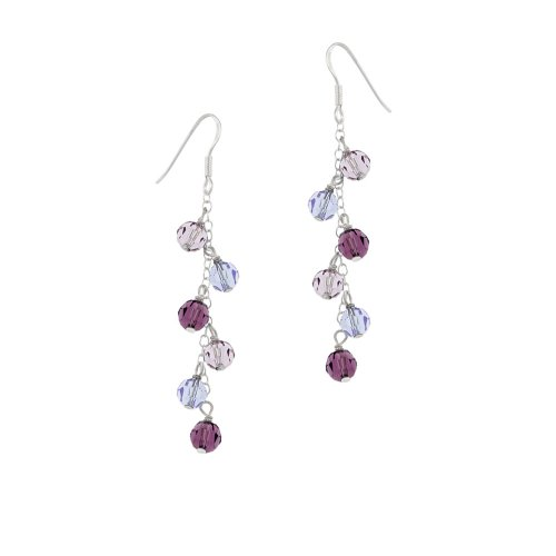 Sterling Silver Drop Earrings with Multi-Purple Swarovski Elements