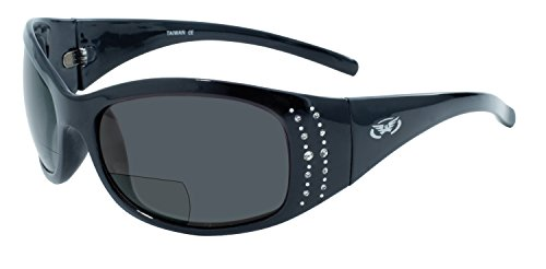 Global Vision Eyewear Marilyn 2 Series 2.5 Magnification Bifocal Sunglasses with Gloss Black Frames and Smoke Lenses