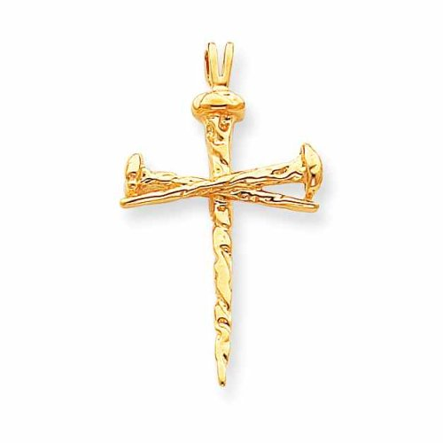Yellow Gold Cross Nail Pendant 14K