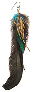 Green, Black & Brown Feather Earrings
