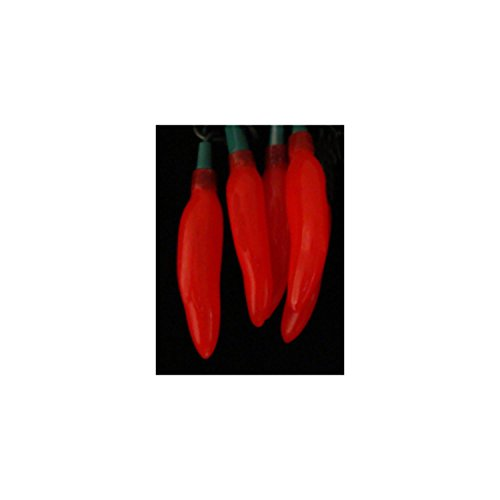 Set of 20 Everglow Red Chili Pepper Novelty Christmas Lights - Green Wire (Mini Chili Pepper Lights compare prices)