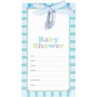 Blue Safety Pin Baby Shower Embellished Invitations 8ct