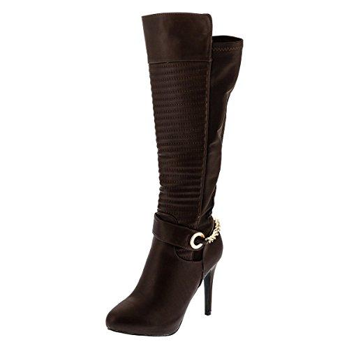 Stivali donna sérgio Todzi easybiz High Heels over ginocchio donna Sexy stivaletti tacco Suffragette etto, Marrone (marrone), 40 EU